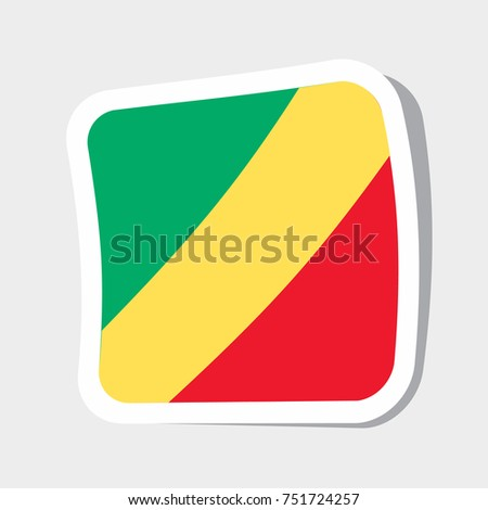 Square sticker with flag of congo high quality flag of congo square glossy icons