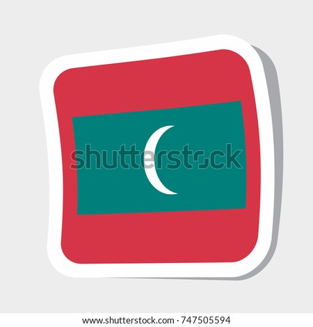 Square sticker with flag of maldives high quality flag of maldives square glossy icons