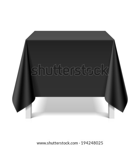 Square table covered with black tablecloth. Vector. - stock vector