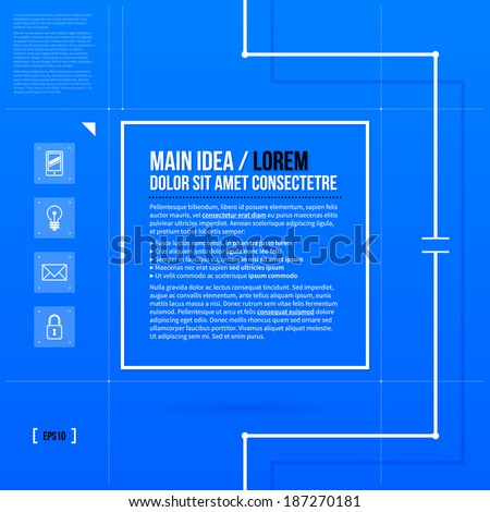 Square text frame template in blueprint style. EPS10 - stock vector