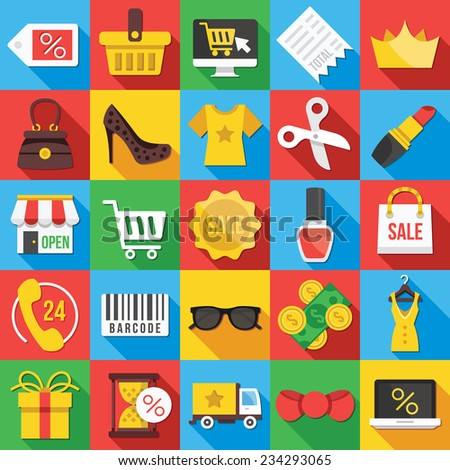 Square vector flat icons set with long shadow for web and mobile apps. Colorful modern design illustrations,elements,concepts,commerce icons,clothes icons,trading, marketing, shopping, business icons. - stock vector