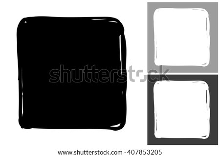 Square vector hand drawn graphic image. Label with minimalistic shape square. Isolated element on white, gray and black background. Paint imitation.
