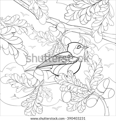 Square Vector monochrome Zentangle stylized abstract bright bird on a branch with leaves and acorns. Art and Color Therapy anti stress. An anti-stress Coloring Book. coloring page adult and children.  - stock vector
