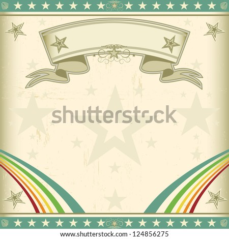 Square vintage invitation. A retro square circus background for an invitation with two rainbows and a ribbon - stock vector