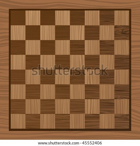 square wooden chess board with grain effect ideal background - stock vector