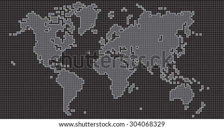 Square world map on grid background, vector illustration.