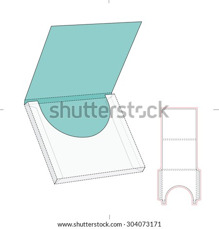 Square wrap envelope and blueprint template - stock vector