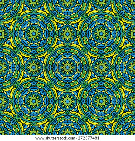 Squared background - ornamental seamless pattern in green, blue and yellow colors. Design for bandanna, carpet, shawl, pillow or cushion. - stock vector