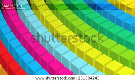 Squared colorful vector template rainbow background illustration - Rainbow circular abstract vector background illustration - stock vector