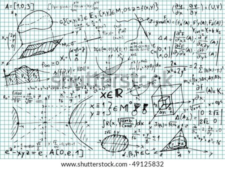 Squared Paper Mathematical Equations Sketches Vector Stock Vector ...