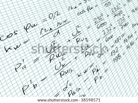 Squared paper with mathematics formula - vector illustration - stock vector