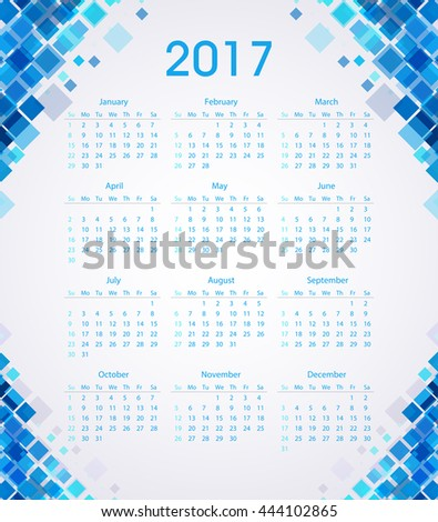 Squares 2017 calendar template for commercial and private use