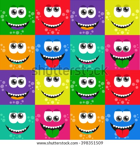 squares monster pattern. - stock vector