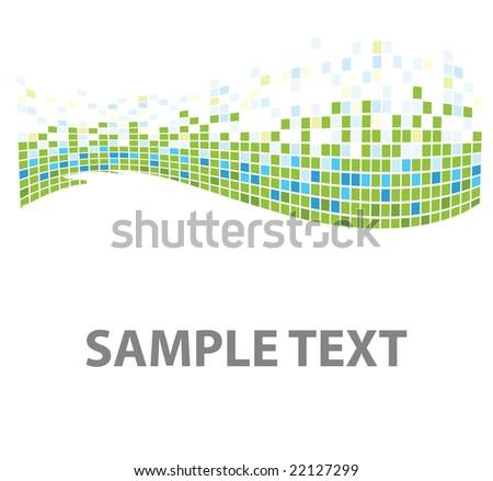 squares mosaic texture green tones - stock vector