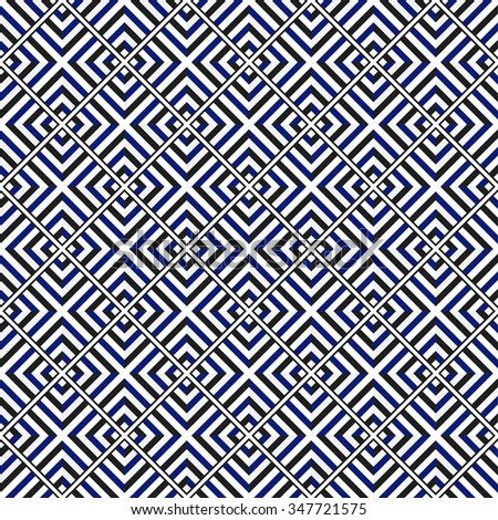 Squares Seamless Pattern. Ceramics Seamless Pattern. Ethnic background. Zigzag pattern. Geometric background. Abstract Background. Tiled textile pattern. Grid background. Vector Regular Texture.