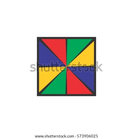 squares with multi colors triangles design logo vector