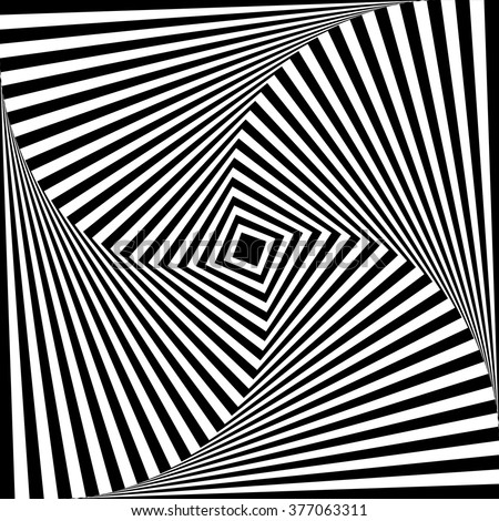 Squares with rotating distortion abstract monochrome vector graphic.
