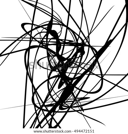 Squiggle dynamic lines. Curvy lines geometric monochrome illustration, art. Vector illustration.