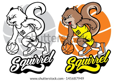 squirrel basketball mascot - stock vector