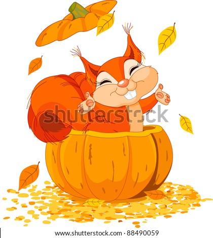 Squirrel jumping out from a pumpkin - stock vector