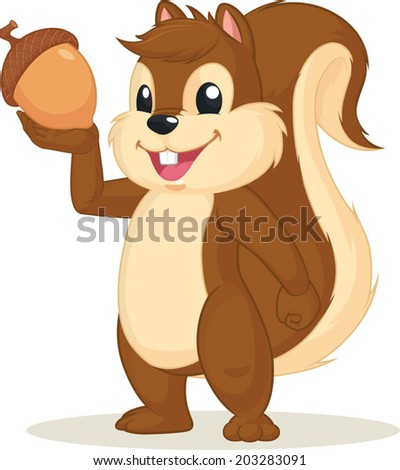 Squirrel Mascot Holding Nut - stock vector