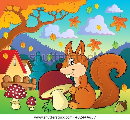 Squirrel with mushroom theme image 2 - eps10 vector illustration.