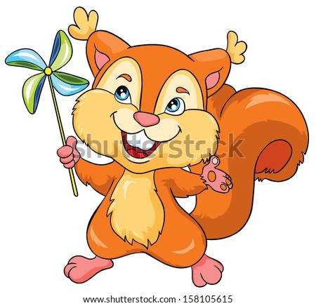 squirrel with toy on a white background, vector illustration - stock vector