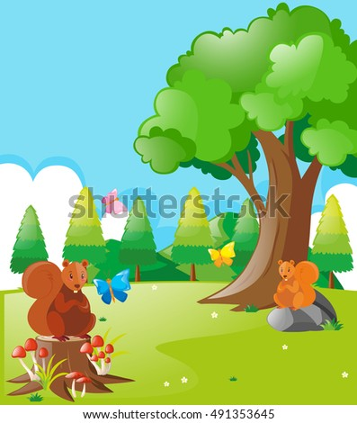 Squirrels and butterflies in the park illustration