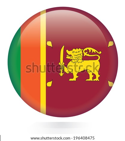 Sri Lanka Flag button - stock vector