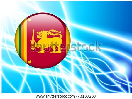 Sri Lanka Flag Button on Abstract Light Background Original Illustration - stock vector