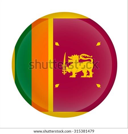sri lanka flag button on white - stock vector