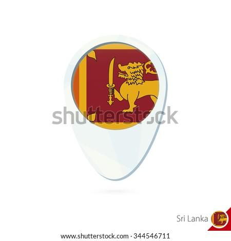 Sri Lanka flag location map pin icon on white background. Vector Illustration. - stock vector