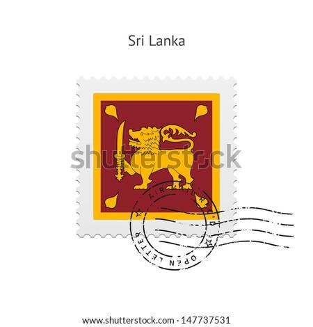 Sri Lanka Flag Postage Stamp on white background. Vector illustration. - stock vector