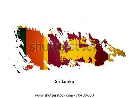 Sri Lanka flag with grunge design, vector illustration - stock vector