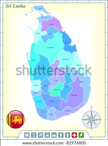 Sri Lanka Map with Flag Buttons and Assistance & Activates Icons Original Illustration - stock vector