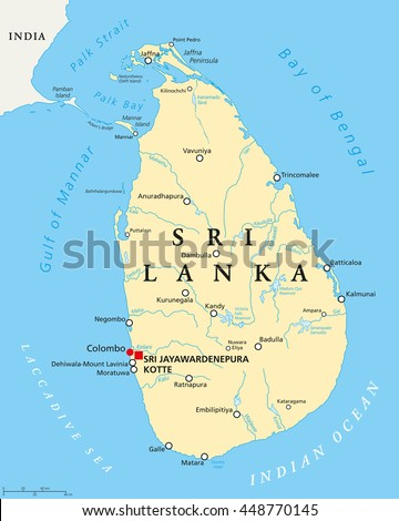 Sri Lanka Political Map With Capitals Important Cities Rivers And Lakes Former Known