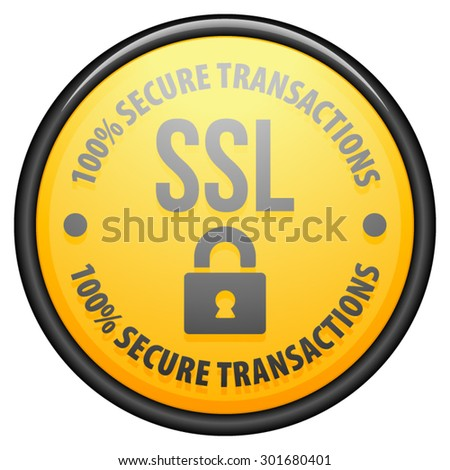 SSL 100% Secure Transactions - stock vector