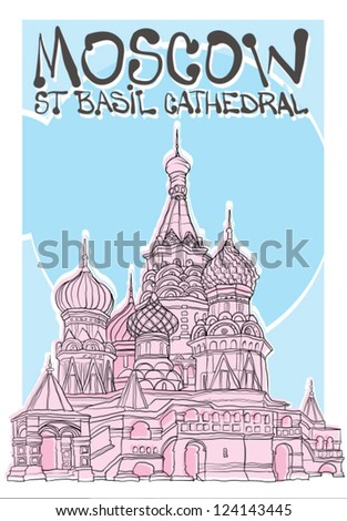 St Basils cathedral - stock vector