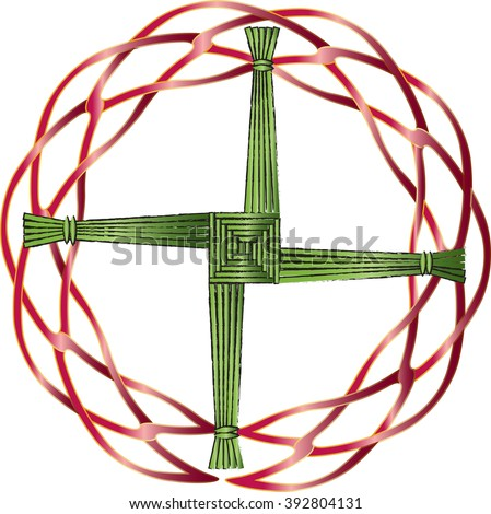 St Brigids Cross Made Straw Protect Stock Vector 392804131
