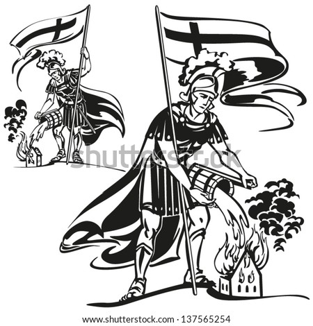 st florian themes brush drawingbased vector stock