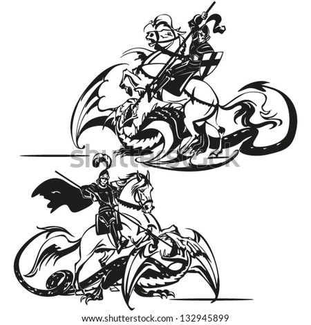 St George Brush drawing-based vectors showing St. George fighting with a dragon. - stock vector