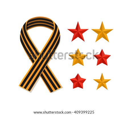 St George striped black and orange ribbon and stars isolated on white. Vector symbol ribbon of great patriotic war Victory day. Saint George ribbon loop. Victory day concept.  - stock vector