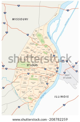 st louis map - stock vector