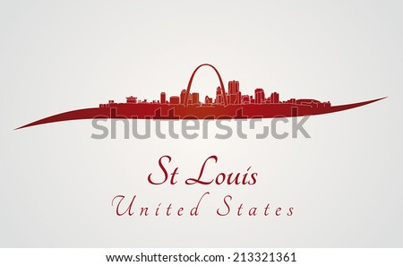St Louis skyline in red and gray background in editable vector file - stock vector