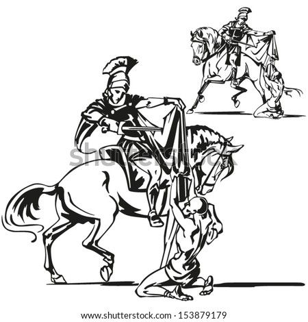 St Martin themes: Brush drawing-based vector illustrations showing St. Martin parting his cloak with a beggar