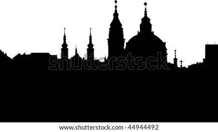 St Nikolas church -  one of the most important buildings of baroque Prague - vector - stock vector