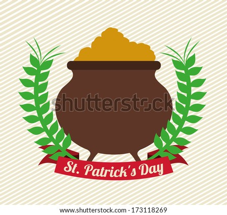 st patrick day over lineal background vector illustration - stock vector
