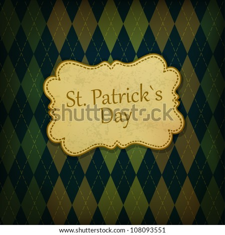 St. Patrick holiday greeting card. Vintage styled, vector, EPS10 - stock vector