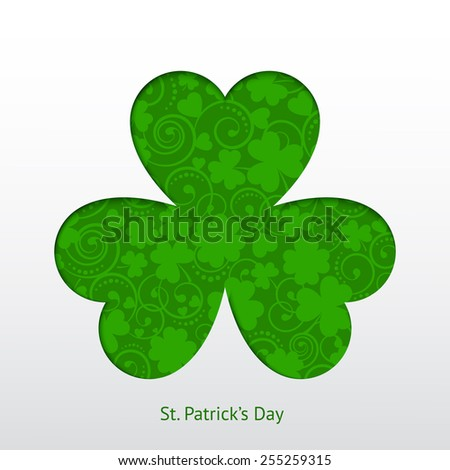 St. Patrick's card with silhouette clover and cute pattern  - stock vector