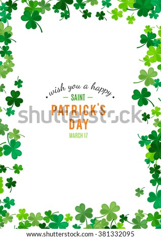 St Patrick's Day background. Vector illustration for luck spring design with shamrock. Green clover border, vertical frame isolated on white background. Ireland symbol pattern. Irish header for web.